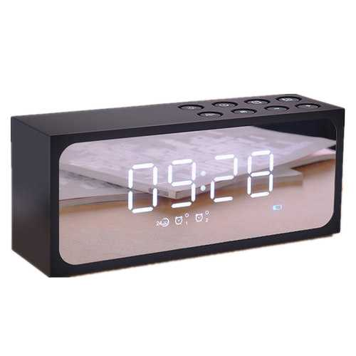 Joyroom 2 In 1 Alarm Clock LED Mirror Wireless bluetooth Speaker HIFI Heavy Bass Speaker With Mic