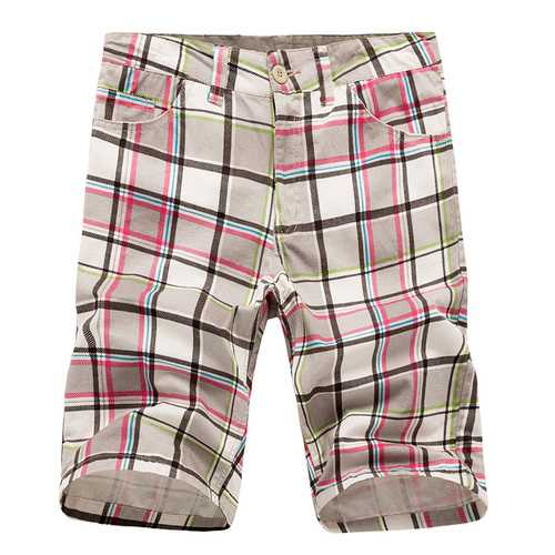 Men's Casual Lattice Knee-Length Cotton Shorts