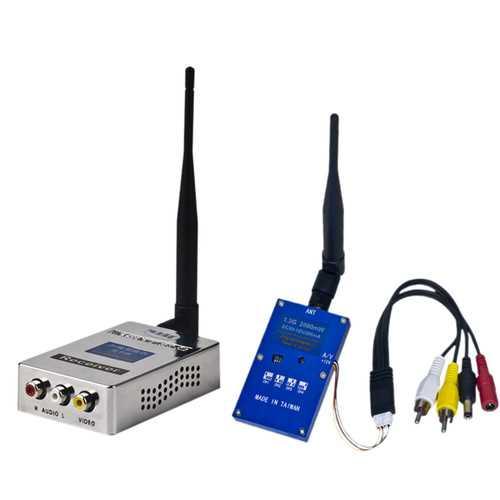 1.3G 2W 2000mW PAL/NTSC Wireless AV VTX FPV Transmitter Receiver Combo for RC Drone Airplane Long Range