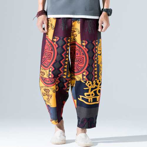 Ethnic Style Printed Loose Wide Leg Pants