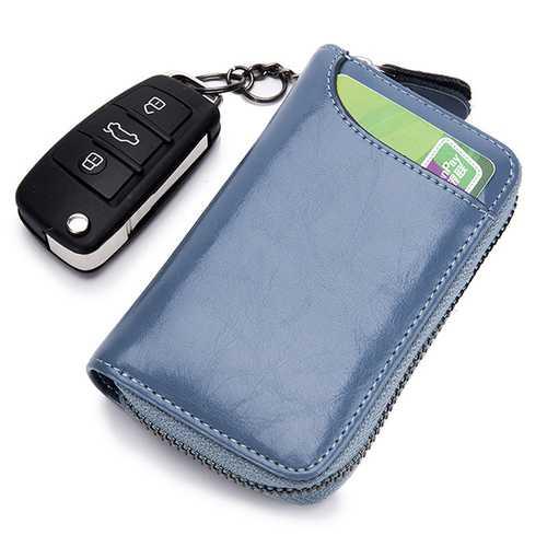 Women Men Genuine Leather Key Package Card Holder Clutch Bag