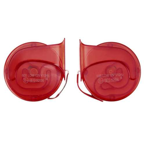 Pair 12V 110dB Air Snail Horn Universal Red Super Loud For Car Van Motorcycle