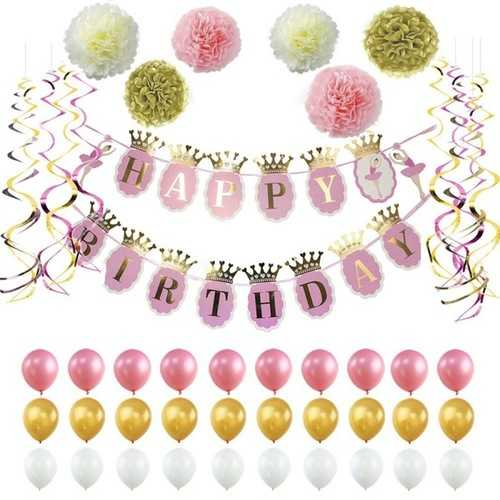Paper Flower Party Home Decoration Glitter Banner Happy Birthday Banner Glitter Party Decor Photo Backdrop