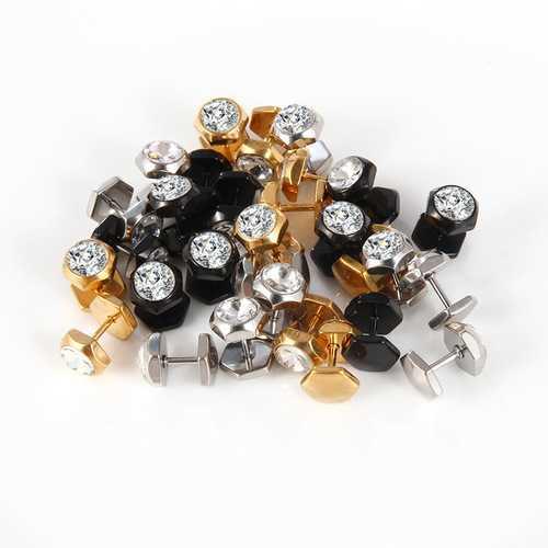 Fashion Men's Earring Titanium Steel Geometric Crystal Stud