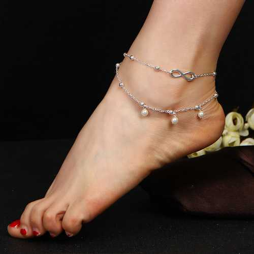 Fashion Infinity Knot Multilayer Women's Anklets Bead Pearl