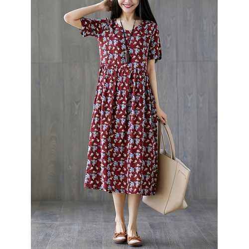 Casual Cotton Loose Print O-Neck Short Sleeve Dress
