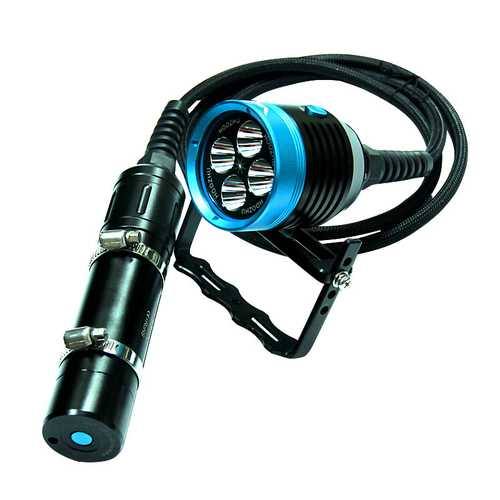HOOZHU HU33 Underwater 100m 4x LEDs 4000LM 3Modes Diving Light Dive Flashlight Suit with 32650 & Charger &Bracket