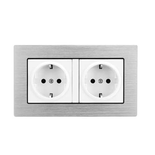 16A AC110V-250V Wall Double Switch Socket Power Outlet Panel Adapter EU