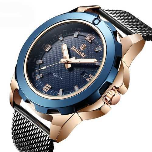 BARAGI 1689 Calendar Business Full Steel Men Wrist Watch