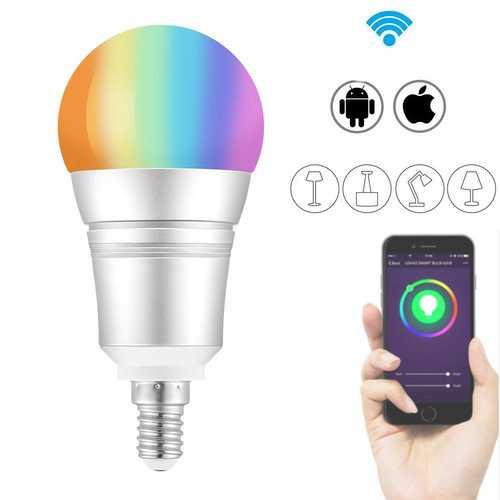 E27 E14 B22 9W RGB+Warm White WIFI LED Smart Light Bulb Work with Alexa Voice Control AC110-255V