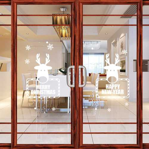 1PC Removable Cartoon Christmas Snowflake Deer Happy New Year Vinyl Home Window Wall Decor Sticker Decoration Decal Window Waterproof Stickers Home Shop Festival Decor