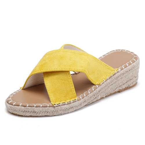 Wedge Women Shoes Cross Suede Casual Slippers