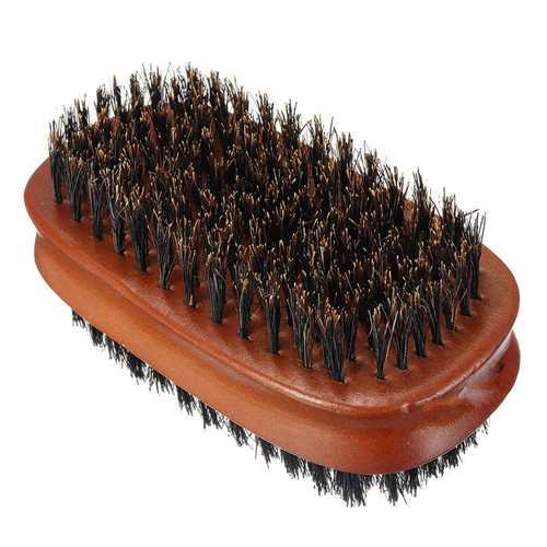 Double-sided Pig Bristle Beard Comb Brush Men's Groom Tool