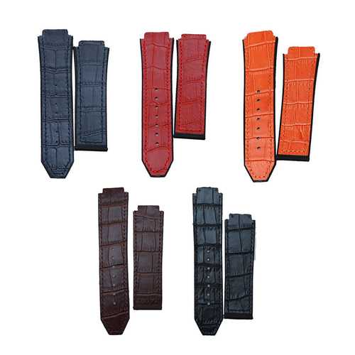 Replacement 25mm Rubber Leather Watch Band Strap For Hublot Big Bang