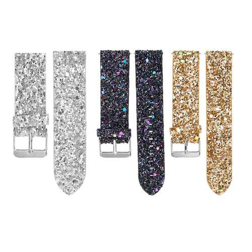 Replacement Bling Glitter Leather Wrist Strap Watch Band For Fitbit Versa