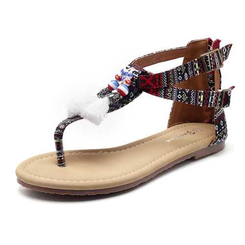 Bohemian Comfortable Women Fringe Clip Toe Flat Sandals