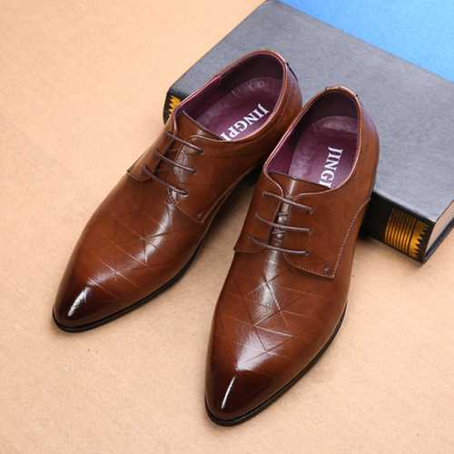 Men Comfy Leather Pointed Toe Business Formal Shoes
