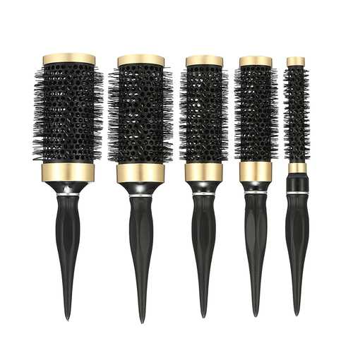 1 Piece Round Curling Hair Comb Plastic Black Salon Barber