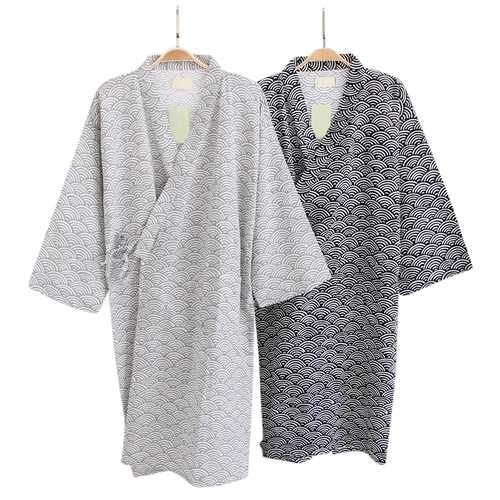 Mens Drawstring Japanese Kimono Cotton Sleepwear Robes
