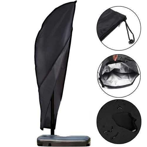 Garden Outdoor 9-11ft Offset Umbrella & Frame Cover Waterproof Cantilever Umbrellas Cover Parasol Cover with Zipper Oxford Fabric