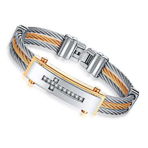 Classic Diamond Cross Charm Bracelet Stainless Steel Bangle