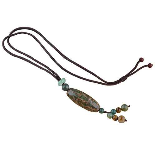 Unisex Vintage Tibetan Beads Nine Eye Agate Pendant Necklaces Simple Style Necklace