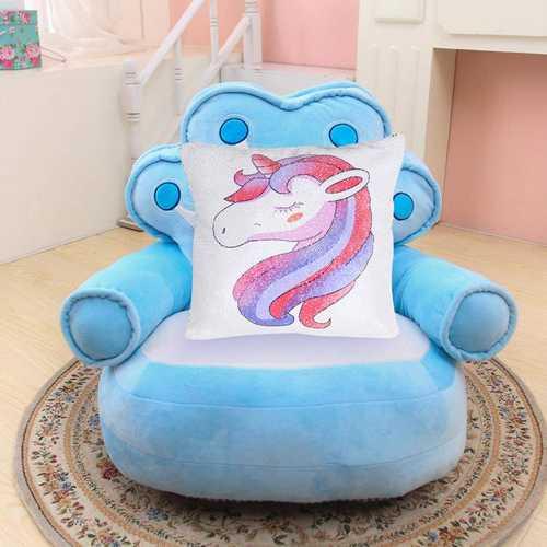 Rainbow Sequins Unicorn Cushion Cover 40x40cm Decorative Mermaid Pillow Case For Sofa Reversible Pi
