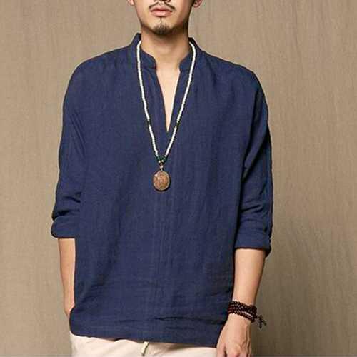 Men's Casual Cotton V-neck Solid Color T-Shirts