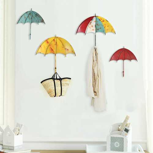 1PC 15 x 16 CM Umbrella Shaped Creative Wall Strong Hook Key Hair Pin Holder Colorful Organizer Decor Decorative Holder Wall Hook For Kitchen Organizer Bathroom Accessories