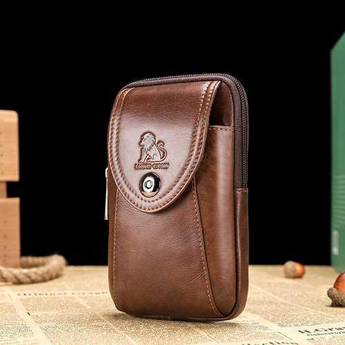 Men Genuine Leather Vintage Minimalist Fashion 6 Inch Phone Bag Waist Bag Crossbody Bag