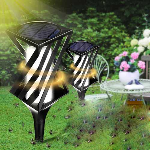 2pcs Solar Powered LED Light Mosquito Killer Insect Repellent Bug Zapper Garden Outdoor Yard Lamp