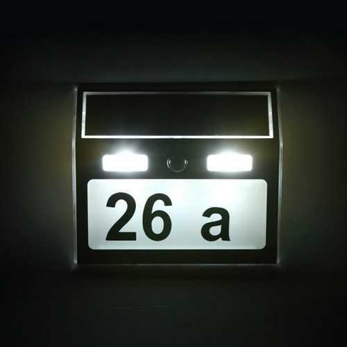 Solar Power 7 LED PIR Motion Sensor House Number Light Door Sign Wall Street Lamp