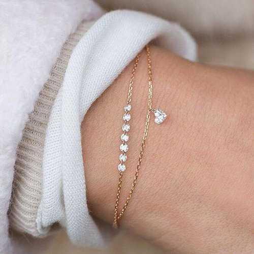 Trendy Heart Crystal Charm Multilayer Bracelet