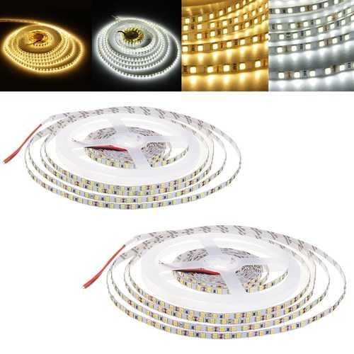5M 30W SMD2835 5MM Untra Thin Pure White Warm White Non-waterproof Flexible LED Strip Light DC12V