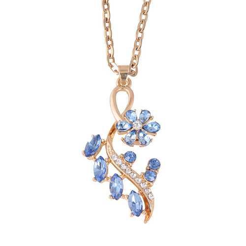 Elegant Crystal Flower Tree Pendant Necklace Gold Silver