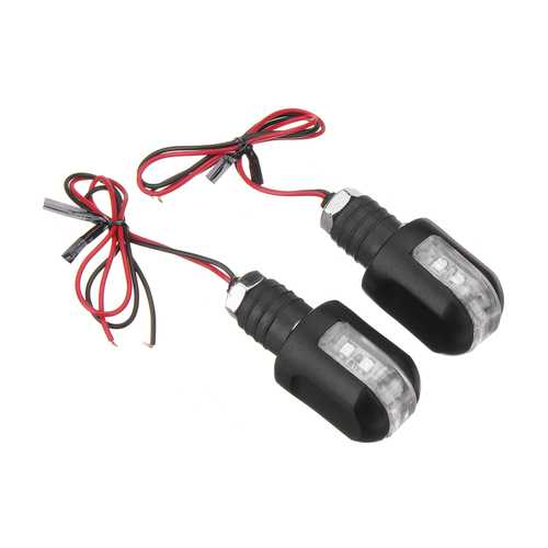 2pcs 12V Motorcycle Amber Handle Bar End Turn Signal 6LED Light Indicator Blinker