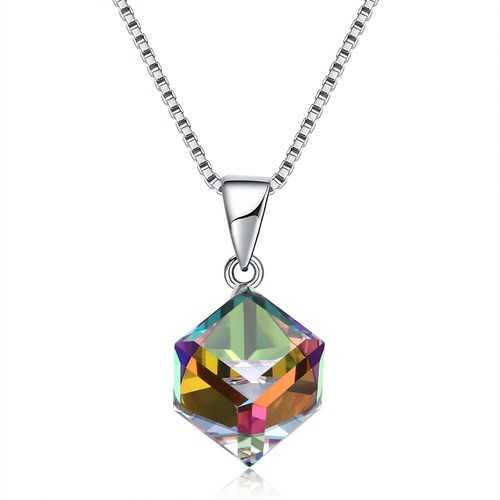 925 Sterling Silver Colorful Shining Cube Crystal Necklace S