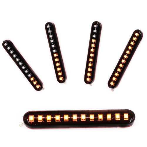 2X 12V 3000K 6W Flowing LED Mini Strips Motorcycle Car Signal Turn Lights