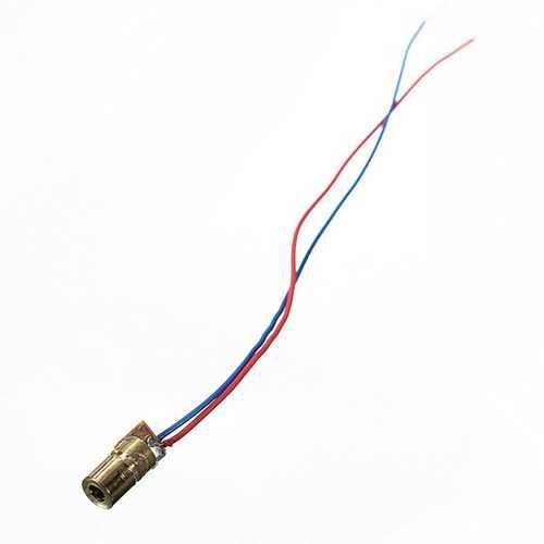 100 pcs DC 5V 5mW 650nm 6mm Laser Dot Diode Module Red Copper Head Tube