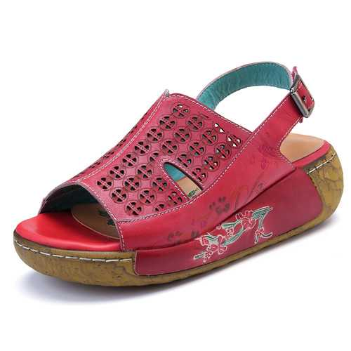 SOCOFY Genuine Leather Buckle Hollow Out Platform Sandals