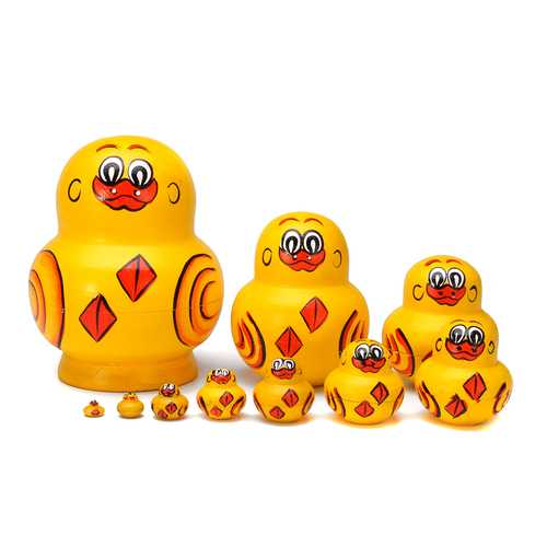10PCS/SET Hand Painted Russian Nesting Doll Decor Mini Wooden Duck Animal Toys Gifts