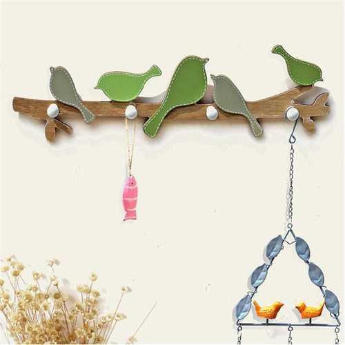 1PC European Retro Style Hanger Organizer DIY Simple Green Bird Wooden Tool Hook Wood Coat Retro Style Hanger Organizer Wall Mounts
