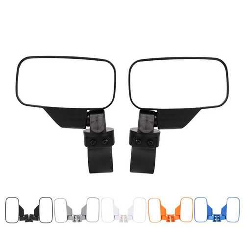 Pair Universal Motorcycle Mirrors UTV Handle Bar Side Rear View Mirrors Shockproof