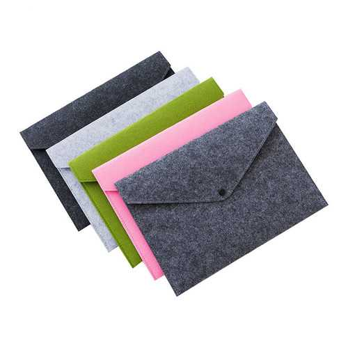 1pcs Simple Solid A4 Felt Document Bag Business Briefcase File Folder Office School Student Gifts