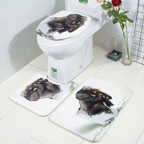 Honana Bathroom Rug Mats Set 3 Piece 3D Elephant Printed Flannel Soft Anti-slip Shower Bath Toilet Rugs Combination