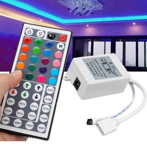 DC12V 6A 72W 44 Key IR Remote Controller for RGB LED Strip Lights