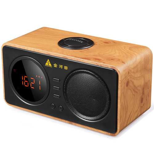 Golden Field D30 Wooden Retro Alarm Clock Wireless Bluetooth Speaker Support TF Card  AUX