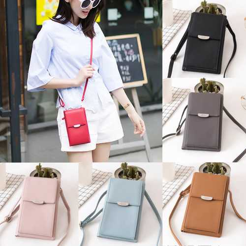 Bakeey Women Large Capacity PU Leather Crossbody Shoulder Bag Wallet for iPhone Xiaomi Cell Phone Under 5.5