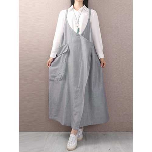 Casual Loose Sleeveless Pocket Solid Color Dress