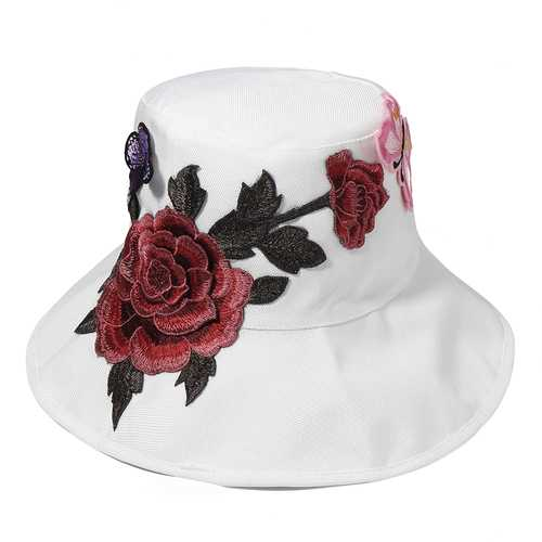 Embroidered Flower Large Brimmed Foldable Bucket Hats